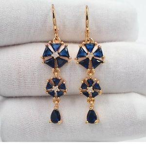 Jewelry - Diamond and Blue Mystic Topaz Gold Dangle Earrings